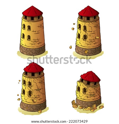 Process of destruction of the defensive tower on a transparent background - stock vector
