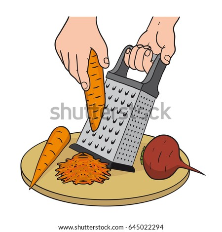 Process Grating Vegetables On Kitchen Grater Stock Vector ... Grate Cheese Clipart