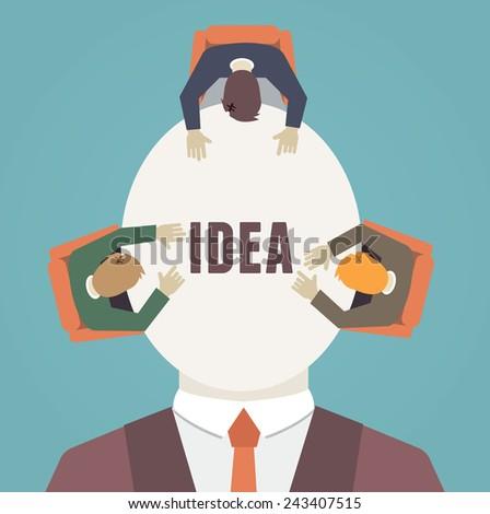Process of human thinking. Brainstorming - vector illustration - stock vector
