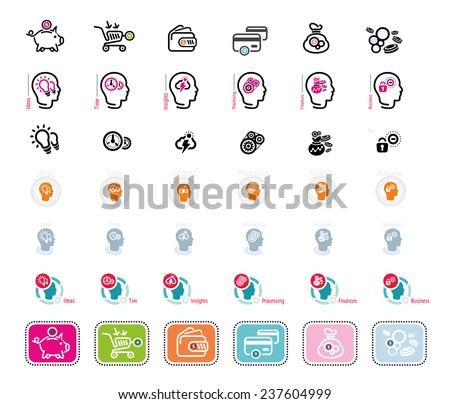 Process of human thinking. Set of silhouette of head, and brain. The concept of intelligence. Idea, business, time, insight, processing, finance. Money icons on white background - stock vector