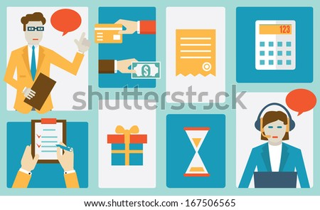 Process of internet shopping. Flat style design - vector illustration - stock vector
