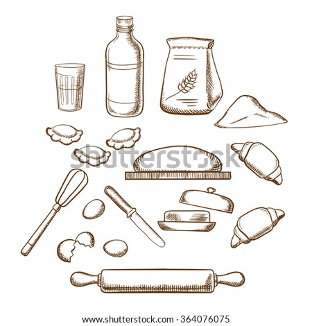 Process of kneading dough with icons of dough, milk, butter, eggs, flour and kitchen utensils. Sketched icons - stock vector
