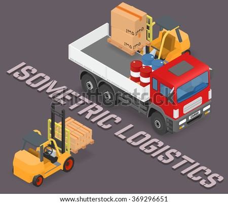 Process of loading and unloading the trucks with a forklift - isometric vector illustration - stock vector