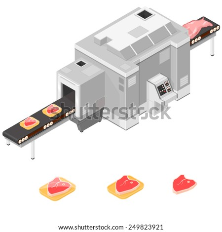 Processing meat Manufacturer. Meet processor and packer. Processing plant  - stock vector