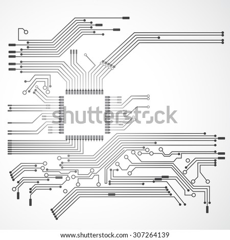 processor and circuit electric, digital concept - stock vector