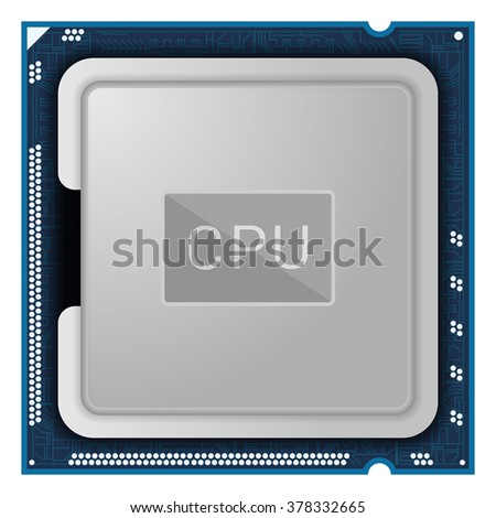 Processor. Computer Hardware isolated on white background. CPU icon or symbol. - stock vector