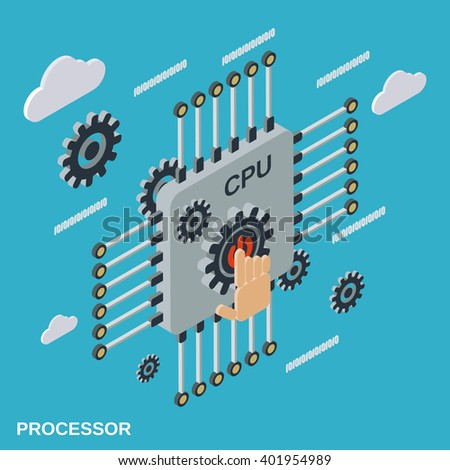 Processor flat isometric vector illustration - stock vector