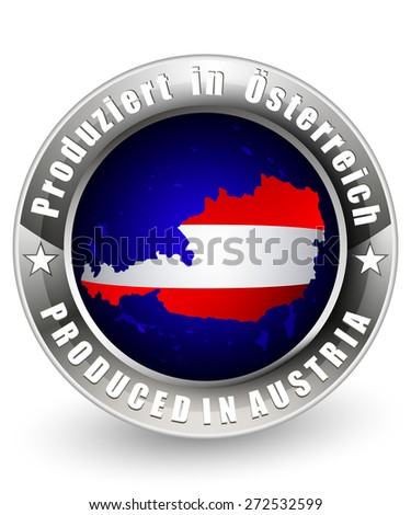 Produced in Austria label with Austria  map. Vector icon.