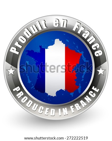 Produced in France with a France map. Vector icon.
