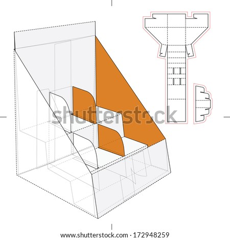 Product Display and Advertisement Cardboard Stand with Blueprint - stock vector