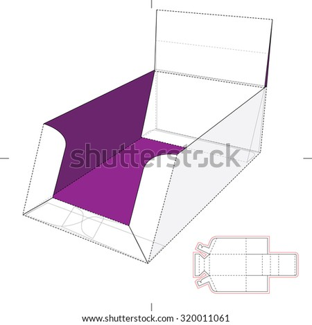 Product Display Box with Blueprint Layout - stock vector