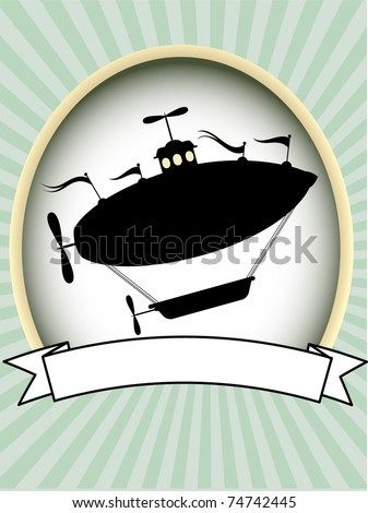 Product label silhouette fantasy airship blank editable vector illustration