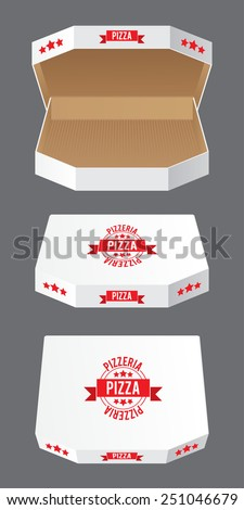Product Packing Vector. Set of White Carton Pizza Boxes - stock vector