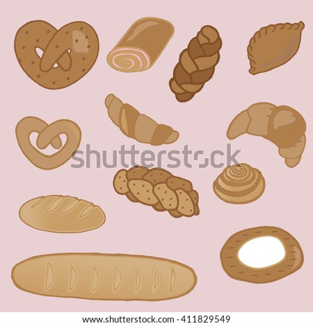 Product range: bread - rye bread, cottage cheese, wheat bread, whole wheat bread, sliced bread, French baguette, croissant. Vector illustration, isolated on pink.