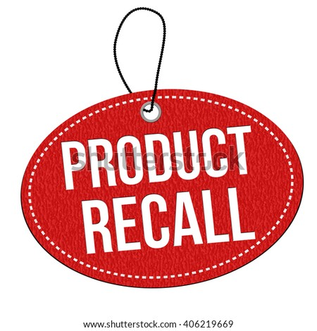 Product recall red leather label or price tag on white background, vector illustration - stock vector