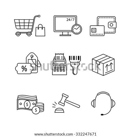 Product retail business, internet commerce and shopping thin line art icons set. Modern black symbols isolated on white for infographics or web use. - stock vector