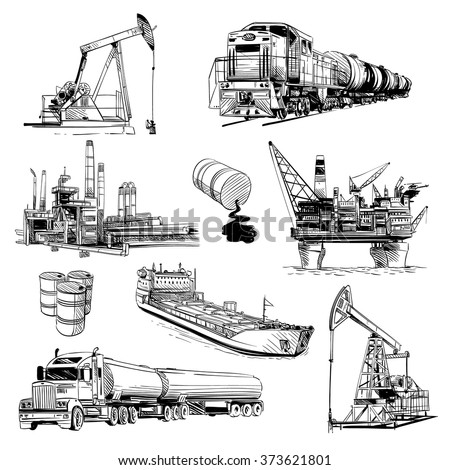 Production and transportation of petroleum products. Hand drawn vector illustration - stock vector