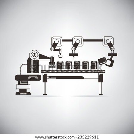 production line - stock vector