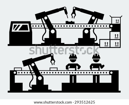 Production line - manufacturing robots - stock vector