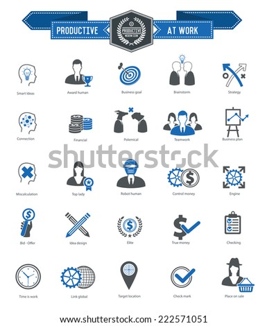 Productive at work icons on white background,blue series,clean vector - stock vector