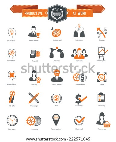 Productive at work icons on white background,orange series,clean vector - stock vector