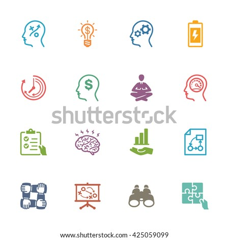 Productivity Improvement Icons Set 2 - Colored Series - stock vector