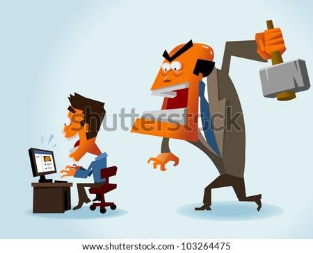 Productivity problem in office. Vector illustration - stock vector