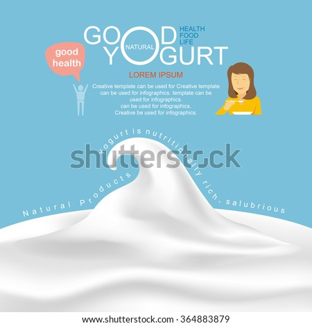 Products of dairy and yogurt infographic, vector illustration.
