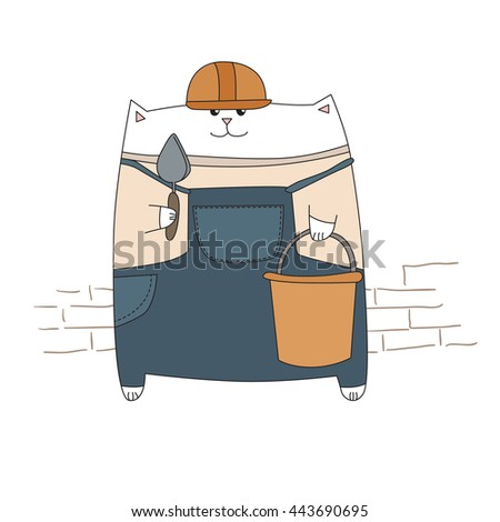 Profession. Builder. White cat. Learning card. Vector for design