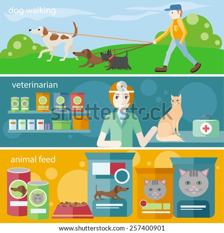 Profession concept with female veterinarian checking heartbeat of orange cat with stethoscope in vet clinic. Man walking with dogs on leash. Pet foods concept on banners in flat design - stock vector