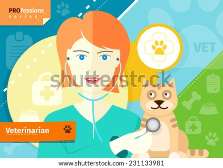 Profession concept with female veterinarian checking the heartbeat of red cat with stethoscope in vet clinic - stock vector