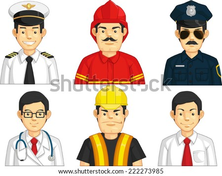 Profession - Construction Worker, Doctor, Fire Fighter, Pilot, Police, Office Worker - stock vector