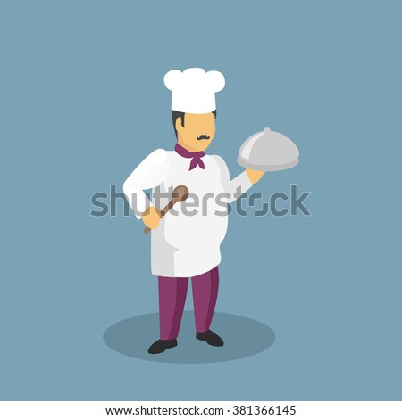 Profession cooks character design flat. Profession and cook, professional cooks, kitchen culinary, chef man in uniform, cooking and restaurant chef,  job person chef, character chef illustration - stock vector