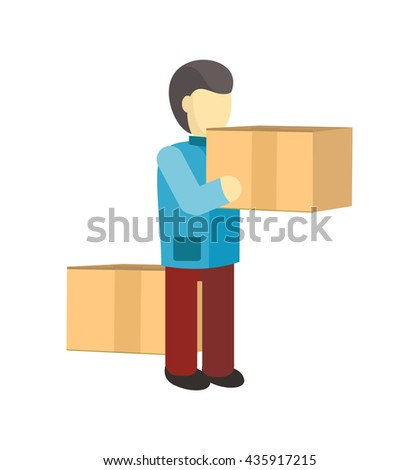 Profession courier with box. Delivery man, delivery icon, free delivery, delivery parcel, service delivery, person profession character courier postman vector illustration - stock vector