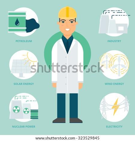 Profession: Engineer. Vector illustration, flat style - stock vector