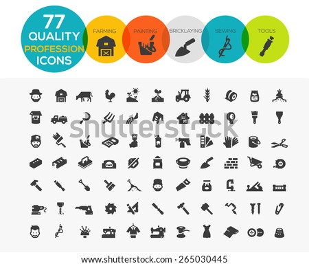 Profession Icons including Framing, Painting, Bricklaying, Sewing and tools - stock vector