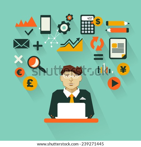 Profession of people. Flat infographic. Accountant  - stock vector