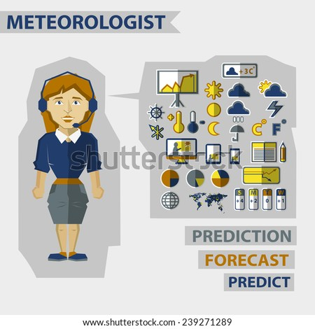 Profession of people. Flat infographic. Meteorologist  - stock vector