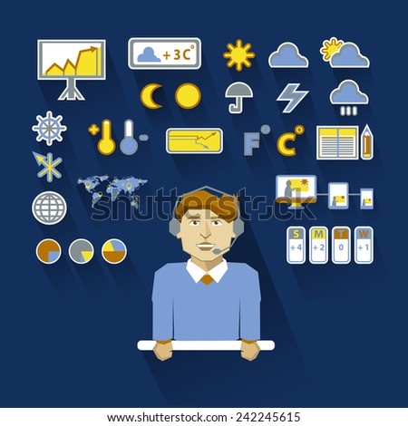 Profession of people. Flat infographic. Weatherman - stock vector
