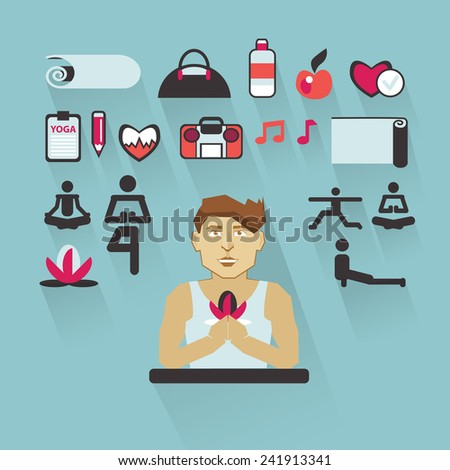 Profession of people. Flat infographic. Yoga instructor. - stock vector