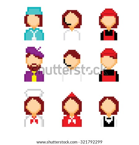 Profession pixels icons set. Old school computer graphic style. - stock vector