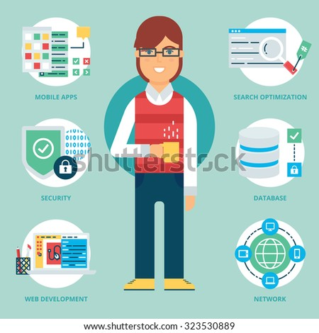 Profession: Programmer. Vector illustration, flat style - stock vector
