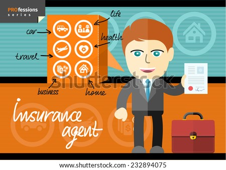 Profession series with male insurance agent in suit presenting car, life, health, home, business and travel insurance contracts - stock vector