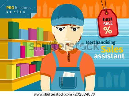 Profession series with young man sales assistant, merchandiser with stylish beard standing in front of supermarket shelves with goods - stock vector