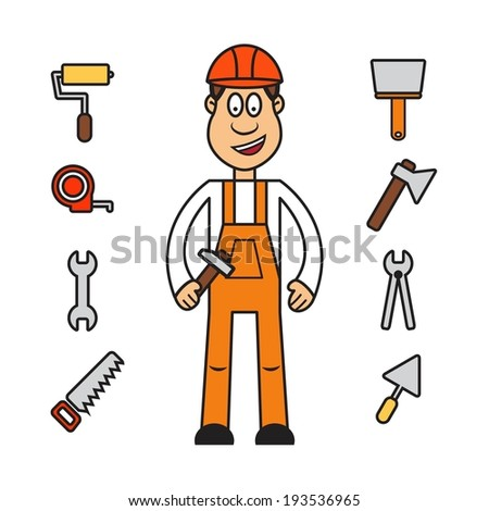 Profession set vector: builder worker in overalls and hard hat - stock vector