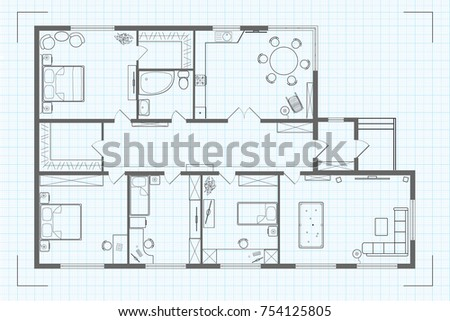 Professional Architectural Floor Plan Of The House With Kitchen, Sleeping  Rooms, Childrenu0027s Room,
