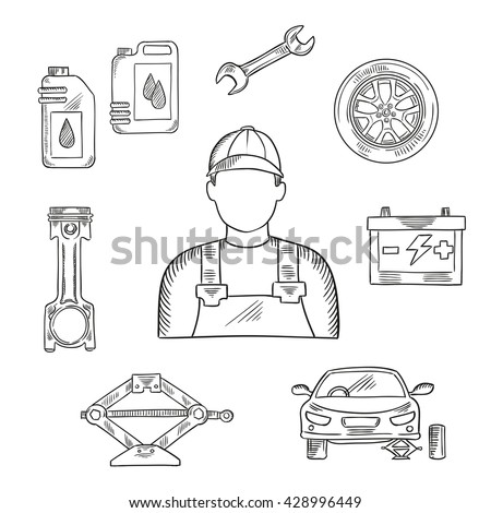 Professional auto mechanic sketch icon for car service center or car workshop symbol design usage with wheel and motor oil, spanner and battery, engine piston and car stand on scissor jack - stock vector