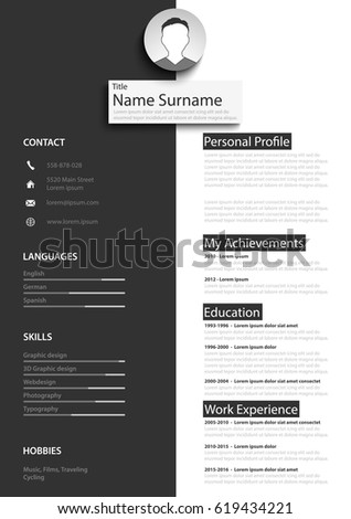 Professional black white resume cv template professional black white resume cv template yelopaper Image collections