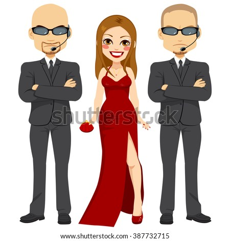 Professional bodyguards standing protecting famous actress woman on elegant red dress - stock vector