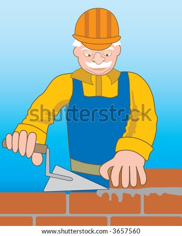 Professional builder at the work. - stock vector
